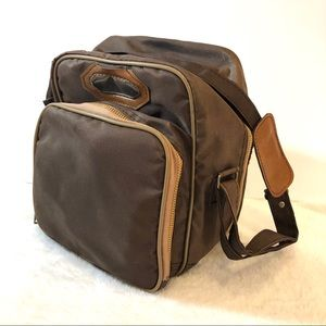 Vintage Brown Dual Compartment Cloth Lunch Bag